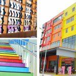 [彰化社頭] 樂活襪之鄉博物館~ 彩虹般七色外牆繽紛亮眼,還有綠草地及戲沙池